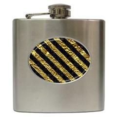 Stripes3 Black Marble & Gold Foil (r) Hip Flask (6 Oz)