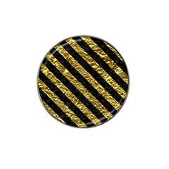 Stripes3 Black Marble & Gold Foil (r) Hat Clip Ball Marker