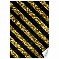 Stripes3 Black Marble & Gold Foil (r) Canvas 12  X 18
