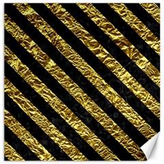 Stripes3 Black Marble & Gold Foil (r) Canvas 16  X 16
