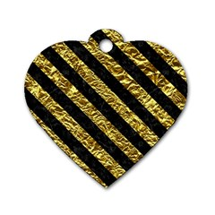 Stripes3 Black Marble & Gold Foil (r) Dog Tag Heart (two Sides)
