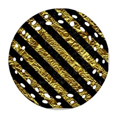 Stripes3 Black Marble & Gold Foil (r) Ornament (round Filigree)