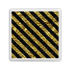 Stripes3 Black Marble & Gold Foil (r) Memory Card Reader (square)