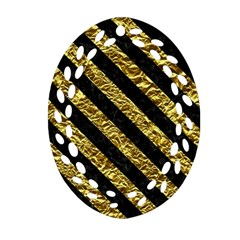 Stripes3 Black Marble & Gold Foil (r) Oval Filigree Ornament (two Sides)