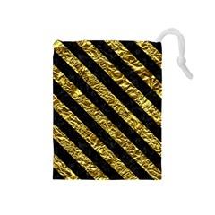Stripes3 Black Marble & Gold Foil (r) Drawstring Pouches (medium)