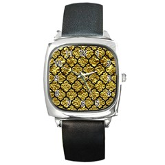 Tile1 Black Marble & Gold Foil (r) Square Metal Watch