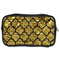 Tile1 Black Marble & Gold Foil (r) Toiletries Bags