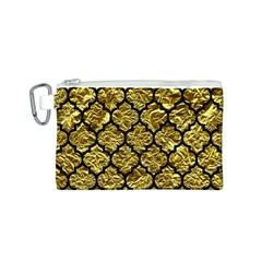 Tile1 Black Marble & Gold Foil (r) Canvas Cosmetic Bag (s)