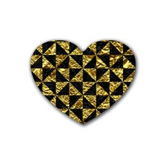Triangle1 Black Marble & Gold Foil Rubber Coaster (heart)