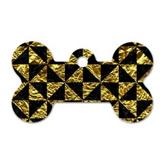 Triangle1 Black Marble & Gold Foil Dog Tag Bone (one Side)
