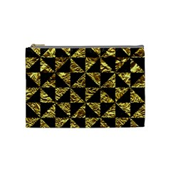 Triangle1 Black Marble & Gold Foil Cosmetic Bag (medium)