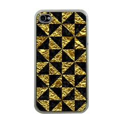 Triangle1 Black Marble & Gold Foil Apple Iphone 4 Case (clear)