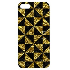 Triangle1 Black Marble & Gold Foil Apple Iphone 5 Hardshell Case With Stand