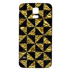 Triangle1 Black Marble & Gold Foil Samsung Galaxy S5 Back Case (white)