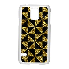 Triangle1 Black Marble & Gold Foil Samsung Galaxy S5 Case (white)