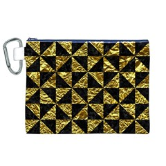 Triangle1 Black Marble & Gold Foil Canvas Cosmetic Bag (xl)