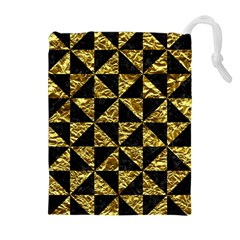 Triangle1 Black Marble & Gold Foil Drawstring Pouches (extra Large)