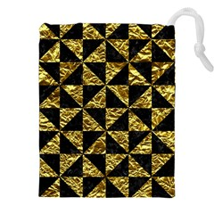 Triangle1 Black Marble & Gold Foil Drawstring Pouches (xxl)