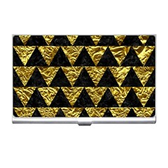 Triangle2 Black Marble & Gold Foil Business Card Holders