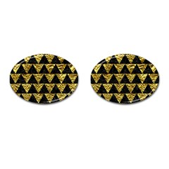 Triangle2 Black Marble & Gold Foil Cufflinks (oval)