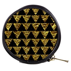 Triangle2 Black Marble & Gold Foil Mini Makeup Bags