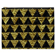Triangle2 Black Marble & Gold Foil Cosmetic Bag (xxxl)