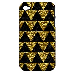Triangle2 Black Marble & Gold Foil Apple Iphone 4/4s Hardshell Case (pc+silicone)