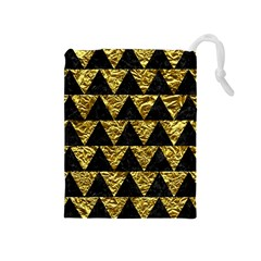 Triangle2 Black Marble & Gold Foil Drawstring Pouches (medium)