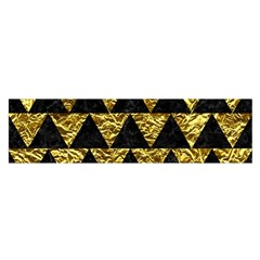 Triangle2 Black Marble & Gold Foil Satin Scarf (oblong)