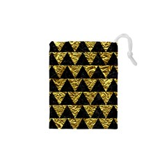 Triangle2 Black Marble & Gold Foil Drawstring Pouches (xs)