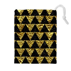 Triangle2 Black Marble & Gold Foil Drawstring Pouches (extra Large)