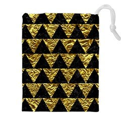 Triangle2 Black Marble & Gold Foil Drawstring Pouches (xxl)