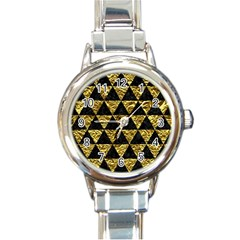 Triangle3 Black Marble & Gold Foil Round Italian Charm Watch