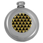 TRIANGLE3 BLACK MARBLE & GOLD FOIL Round Hip Flask (5 oz) Front