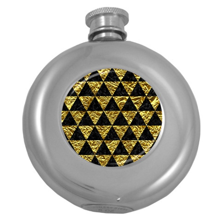 TRIANGLE3 BLACK MARBLE & GOLD FOIL Round Hip Flask (5 oz)
