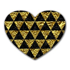 Triangle3 Black Marble & Gold Foil Heart Mousepads