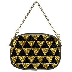 Triangle3 Black Marble & Gold Foil Chain Purses (one Side)