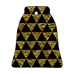 Triangle3 Black Marble & Gold Foil Ornament (bell)