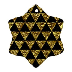 Triangle3 Black Marble & Gold Foil Snowflake Ornament (two Sides)