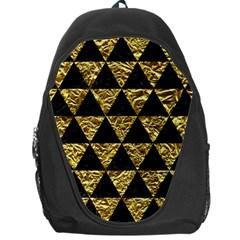 Triangle3 Black Marble & Gold Foil Backpack Bag