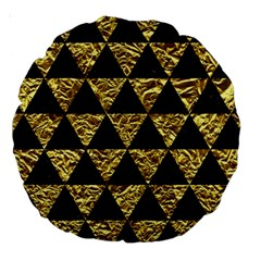 Triangle3 Black Marble & Gold Foil Large 18  Premium Round Cushions