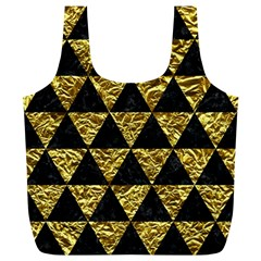 Triangle3 Black Marble & Gold Foil Full Print Recycle Bags (l)