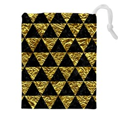 Triangle3 Black Marble & Gold Foil Drawstring Pouches (xxl)