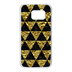 Triangle3 Black Marble & Gold Foil Samsung Galaxy S7 White Seamless Case