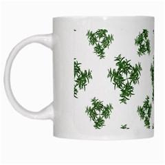 Nature Motif Pattern Design White Mugs