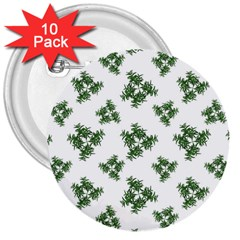 Nature Motif Pattern Design 3  Buttons (10 Pack)