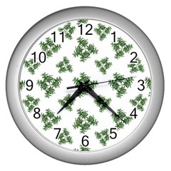 Nature Motif Pattern Design Wall Clocks (silver)