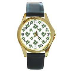 Nature Motif Pattern Design Round Gold Metal Watch