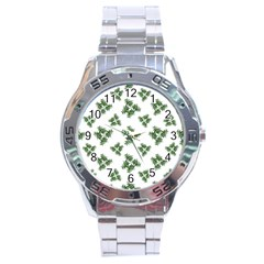 Nature Motif Pattern Design Stainless Steel Analogue Watch