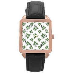 Nature Motif Pattern Design Rose Gold Leather Watch